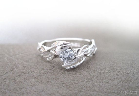 Leaf Diamond Engagement Ring Engagement Leaf Ring Leaves by Benati...i'd want rose quartz