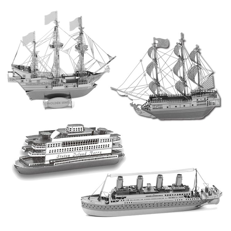 2016 3D Metal Puzzles DIY Model Gift World's Ship Ferry Pear Titanic Golden Hind  Caribbean BlackJigsaws Toys For Kids/Adult
