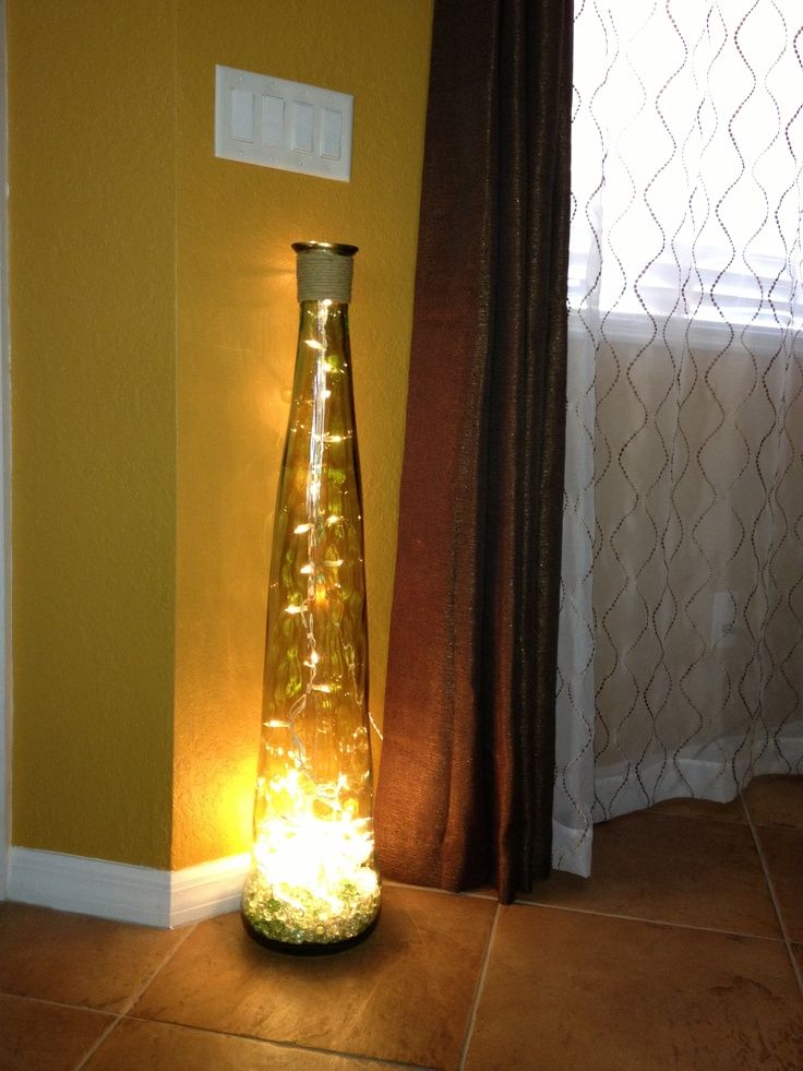 Perfect DIY Floor Lamp Vase + Glass Stones + String Of Lights U003d Illuminating Floor  Lamp