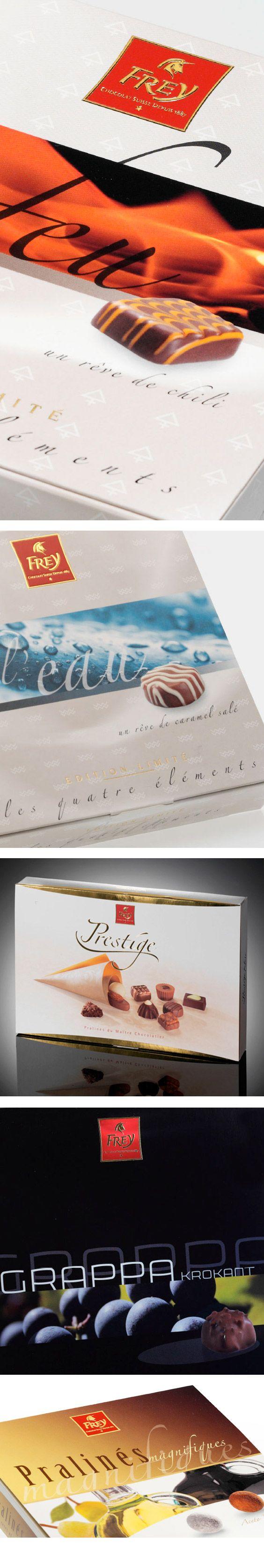chocolat frey – Leidenschaft und Genuss! Chocolat Frey ist einer der grössten Hersteller von Schokolade und Pralinés in der Schweiz. In hochmodernen Produktionsstätten werden eine Vielzahl von Standard- und Spezialprodukten hergestellt. Für diese Spezialprodukte haben wir eine lose Serie von Verpackungen gestaltet, die mit Veredelungen wie Lack und Prägung, aber auch mit partiellen Glanzfolien ergänzt wurden. / Packaging design by Schaffner & Conzelmann AG, Basel, Switzerland