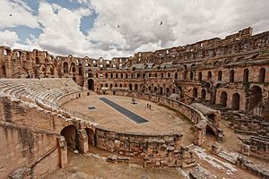 El Djem الجمّ Thysdrus  /  The amphitheatre. The amphitheatre at El Djem was built by the Romans under proconsul Gordian, who was acclaimed Emperor at Thysdrus, around 238 and was mainly used for gladiator shows and small chariot races (like in Ben-Hur).