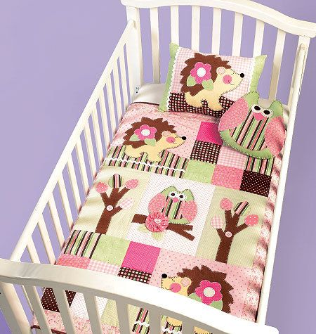 BABY NURSERY PATTERN / Make Infant Quit and PIllows / Owl - Hedgehog Design / Crib Accessories