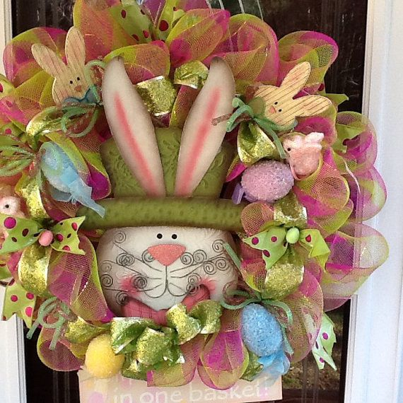 Easter Bunny wreath by WreathsEtc on Etsy