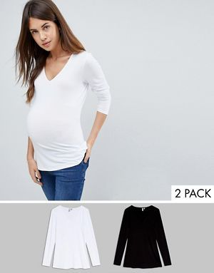 567425eb5786d ASOS DESIGN Maternity Ultimate Top with Long Sleeve and V-Neck 2 Pack Save  15%