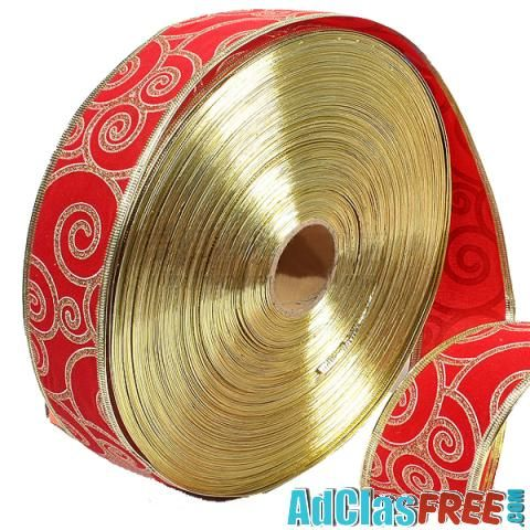 Red Gold Ribbon Christmas Trees Decoration