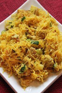 Singapore Noodles (Using Spaghetti Squash) - Ingredients: Chicken thighs, bacon, zucchini, garlic, curry powder, spaghetti squash, Greek yogurt