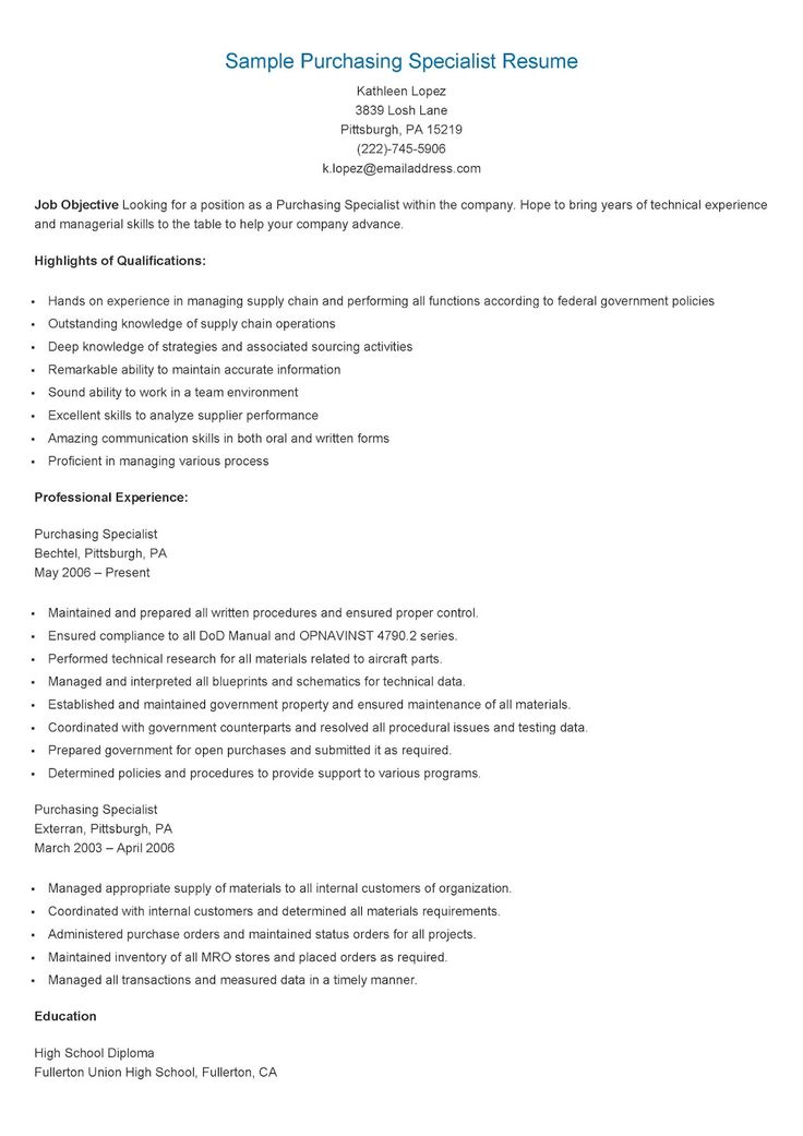 sample purchasing specialist resume