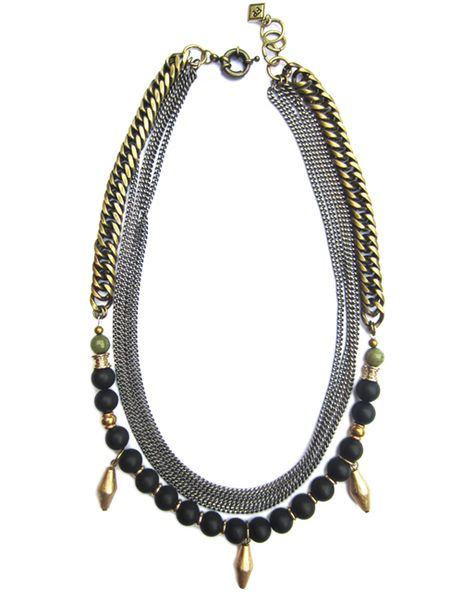 Inject a dose of elegant edge to any ensemble with the Azalia necklace. Polished off by black obsidian and dyed jade beads, this multi-chain necklace makes a...
