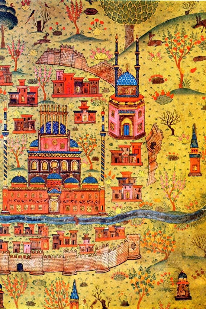 This map of Ottoman cartographer Matrakçı Nasuh shows us a real shining city on a hill. #art #Türkiye c1537