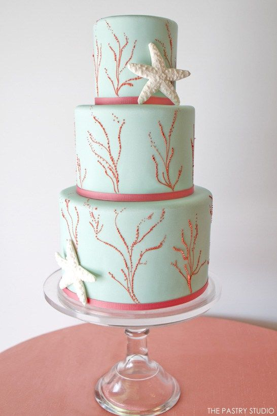 coral beach wedding cakes