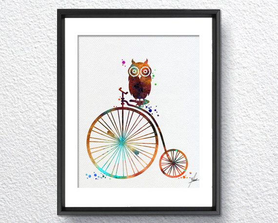 Excited to share the latest addition to my #etsy shop: Old Bike Owl Watercolor illustrations Art Print Wall Art Poster Giclee Wall Decor Art Home Decor Wall Hanging Item218