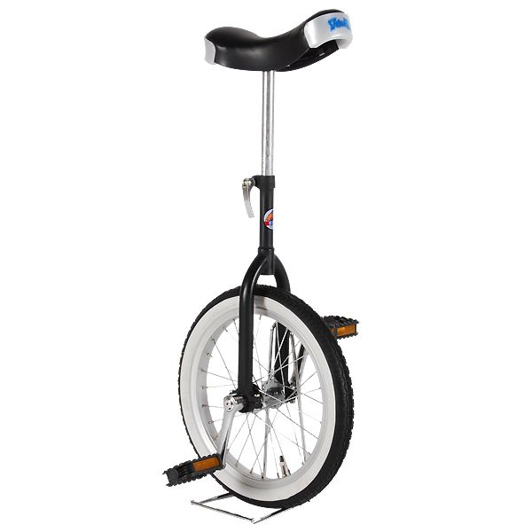http://Gruttokinderfietsen.nl Eenwieler 16 inch Deluxe Zwart (1 wieler) - Grutto Kinderfietsen