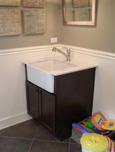 small vanity with apron sink lake house bath 10202
