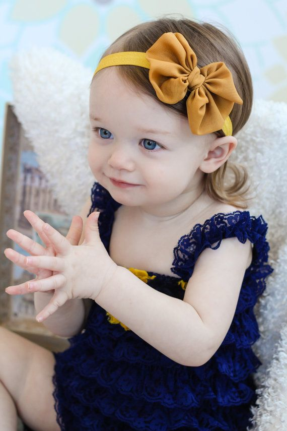 Mustard Bow Mustard Yellow Chiffon Hair Bow Baby Headband