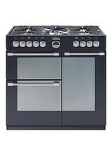 StovesSterling 900DFT 90cm Dual Fuel Range Cooker - BlackStove Sterling900DFT 900 mm wide dual fuel range cooker provides a massive capacity home cooking enthusiasts.There is a gas hob up top with 5 burners on cast iron pan supports. Across the three ovens there is over 170 litres of space. The top left cavity is an electric conventional oven with an integrated electric grill.The main oven is a multifunction electric oven with nine functions including, defrost, intensive bake, top heat…