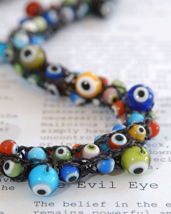 Evil Eye Necklace - Hand-knitted from Black Nylon Yarn with Multi-colored Evil Eye Glass Beads