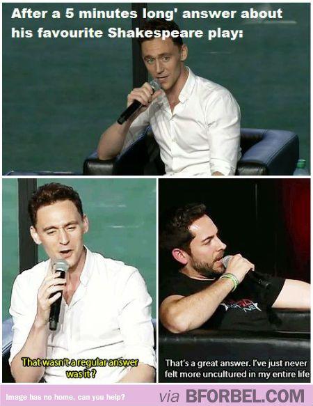 Everyone Is Just Uncultured Swine Beside Tom Hiddleston…