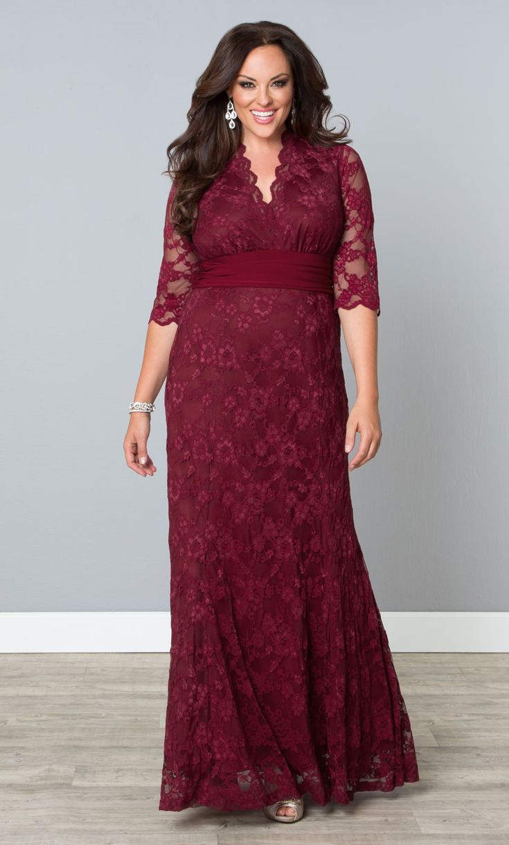 Make an exquisite statement in our Rose Wine plus size Screen Siren Lace Gown.  www.kiyonna.com  #KiyonnaPlusYou  #Plussize  #Formal