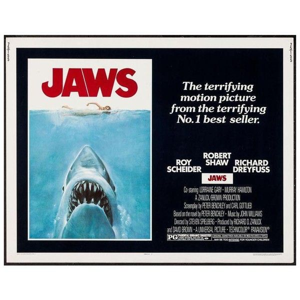 "Original 1975 ""Jaws"" Film Poster ($695) ❤ liked on Polyvore featuring home, home decor, wall art, vintage movie posters, movie star posters, star home decor, vintage film posters and vintage home decor"