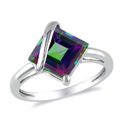Princess-Cut Mystic Fire Topaz Overlay Ring in 10K White Gold - Zales. Interesting and pretty