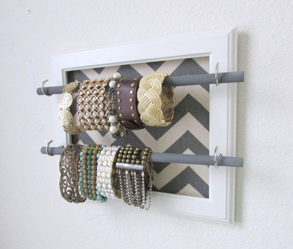 Jewelry Organizer Jewelry Bar Bracelet Storage Pick Your Chevron Color