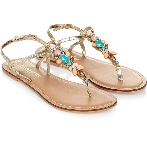 Accessorize Sorbet Stone Thong Sandals (24 CAD) ❤ liked on Polyvore featuring shoes, sandals, flats, sapatos, flat sandals, metallic strappy sandals, flat pumps, strappy sandals, thong sandals and sparkly sandals
