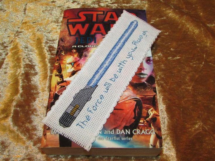 Blue Jedi Lightsaber Cross-Stitch Bookmark by DaydreamQueenMisha