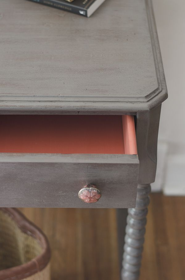 Cassandra grey leggy desk salmon and grey... drawer detail
