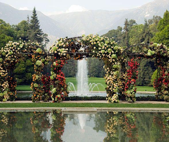 Natural Wedding Altar: White Roses, Orange Pink And
