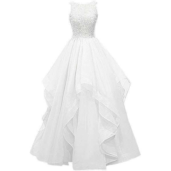 Dresstells Long Prom Dress Asymmetric Bridesmaid Dress Beaded Organza... (750…