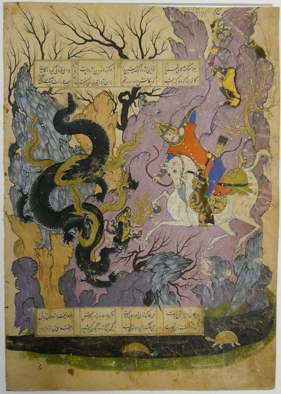 Bahram Gur slays lions (No. 68) and a dragon (No. 69) Ferdowsi, Shahnameh Safavid: Qazvin or Mashhad, 28 November 1580 Scribe: Qotb al-Din b. Hasan al-Tuni Opaque watercolour, ink and gold on paper Private collection