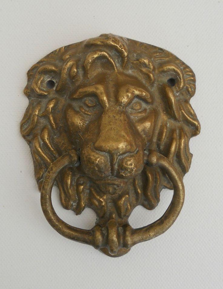 90 best images about vintage antique brass metal ware items on pinterest copper tea caddy - Lion face door knocker ...