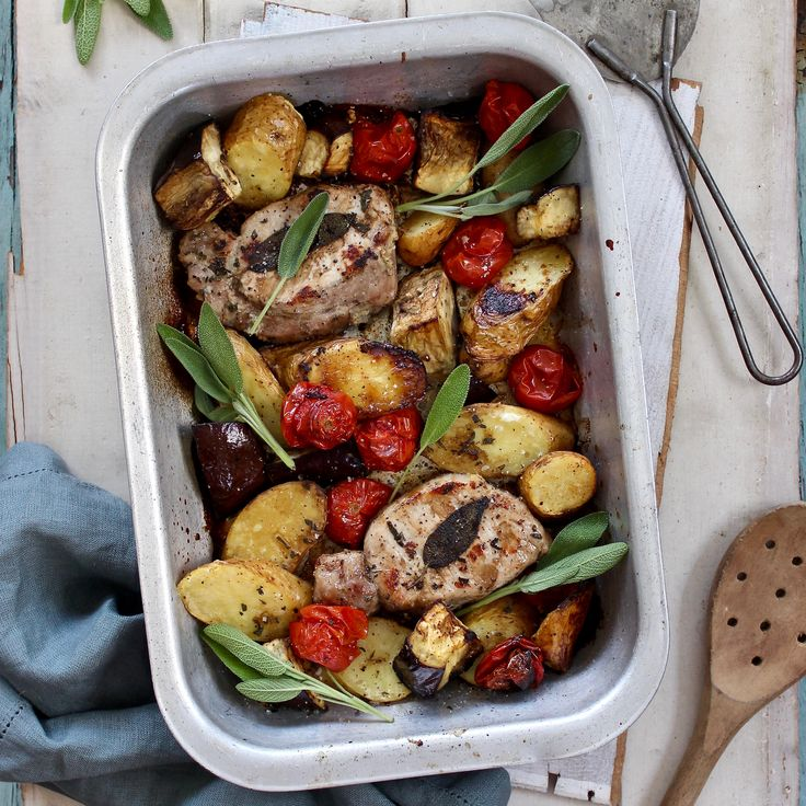 ONE TRAY ROAST PORK WITH SAGE, EGGPLANT, CHERRY TOMATOES & KIPFLER POTATOES. We LOVE a one tray dinner because they are so easy to make, so quick and so delicious. This is a healthy, Mediterranean-style roast made using the very best locally sourced free range pork medallions, kipfler potatoes, eggplant, cherry tomatoes and fresh sage. All finished with a hit of balsamic vinegar. One tray, no fuss. 30 Minutes. Free Range. Gluten Free. Dairy Free.