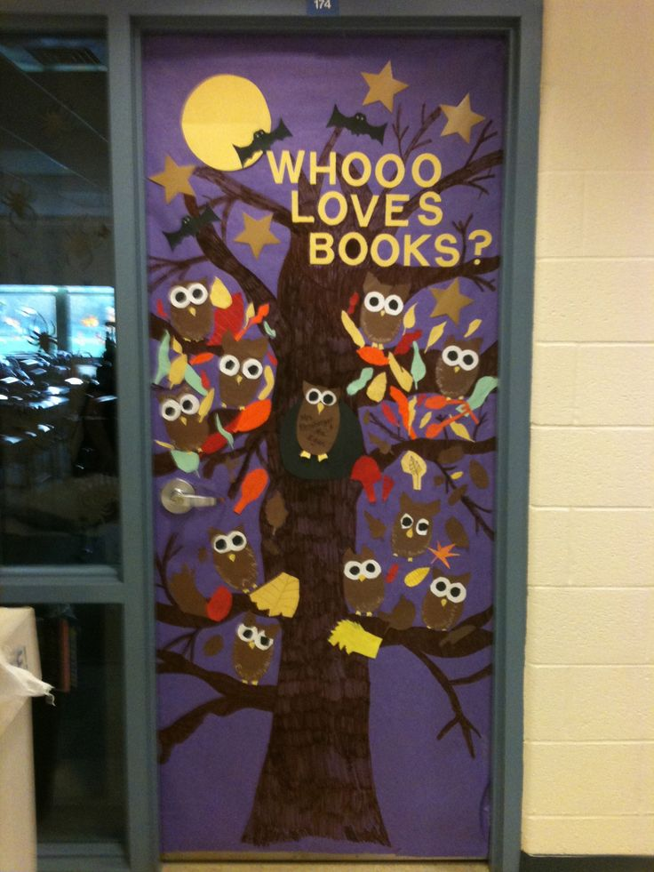 halloween door decoration could be adapted where students make an owl and then you lift - Cute Halloween Door Decorating Ideas