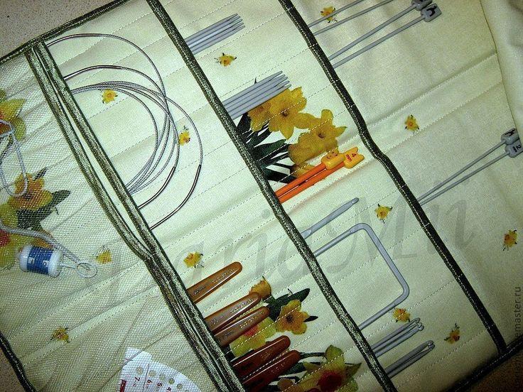 Купить Нарциссы, органайзер для спиц и крючков - мятный, органайзер, хранение, пенал, чехол, для спиц, для крючков