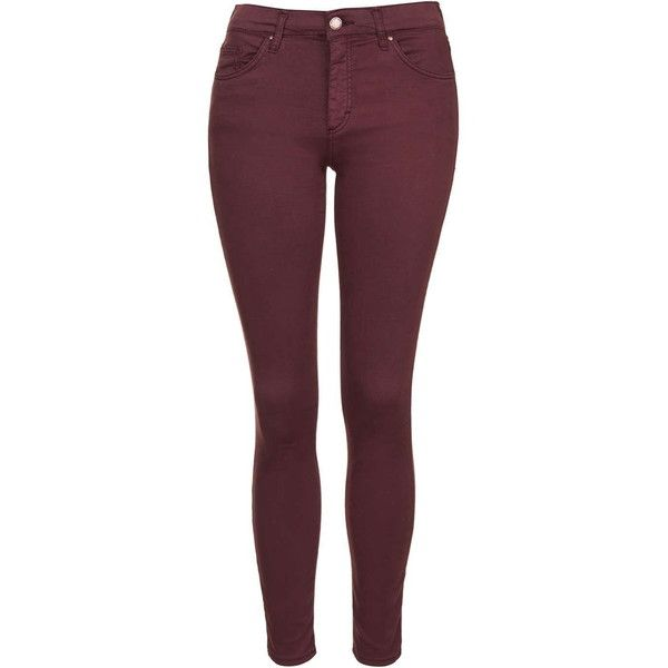 TOPSHOP MOTO Burgundy Leigh Jeans (£38) ❤ liked on Polyvore featuring jeans, burgundy, light weight jeans, topshop jeans, button fly jeans, burgundy skinny jeans and purple jeans