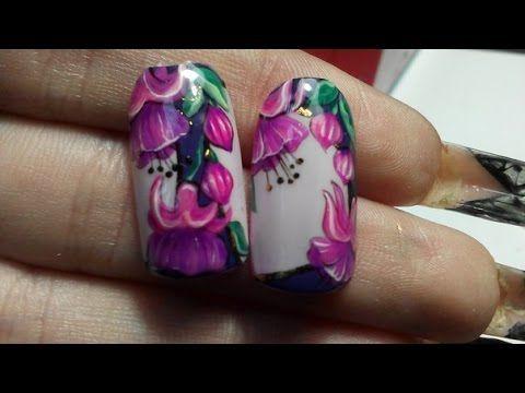 Дизайн ногтей гель лаком .Как рисовать фуксию. Яркий летний дизайн