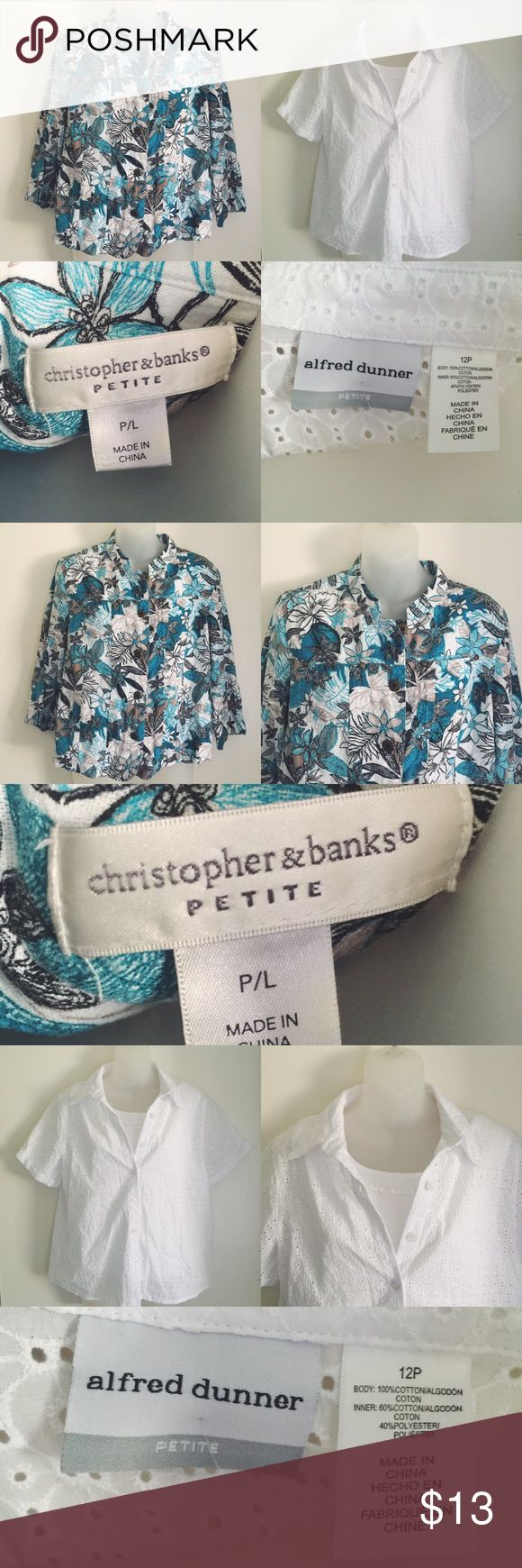 Lot of 2 Petite Women's Tops Up for sale in this listing are two Petite Women's tops.  -- Top # 1: Christopher & Banks ~ Linen Printed Top ~ Size Petite Large ~ $40 retail ~ 55% linen, 45% rayon   Top # 2: Alfred Dunner ~ Eyelet Top (tank included) ~ Size 12 Petite ~ $56 retail ~ Body: 100% cotton, Inner: 60% cotton, 40% polyester  : Same-day shipping before 5pm CST. : Bundle & save! : Reasonable offers welcome. (Please remember Posh takes 20% of sales.) : Pet/smoke free home. : No trades or…