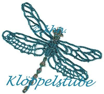 Libelle, geklöppelt, eigener Entwurf, nach einem Stempelmotiv von Stampin Up