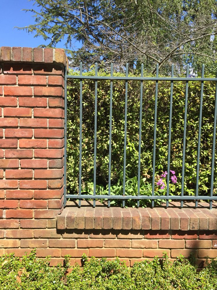 96 best images about wood and brick fences on pinterest for Brick and wrought iron fence
