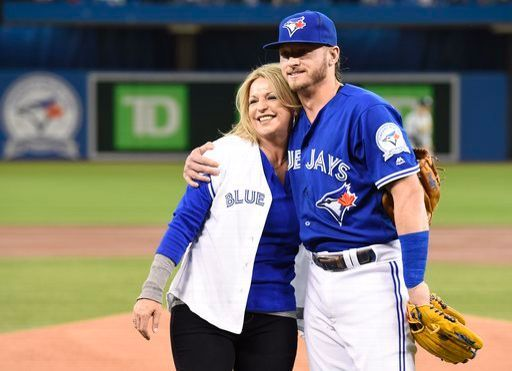 Josh Donaldson's mom, Lisa French is at Rogers Centre to throw out the first pitch , April 24, 2016