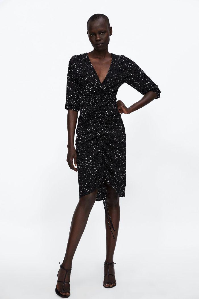 8c696ca154bd9b Zara Polka Dot Draped Dress | Celebrities & Trendsetters | Draped ...