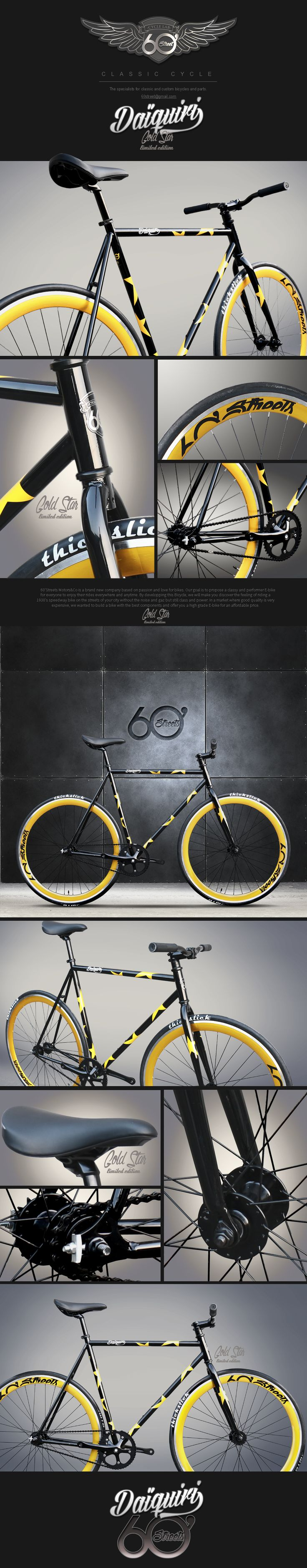 Daiquiri GOLD STAR Limited Edition Fixed Gear Bike Fixie Single Speed Bicycle M