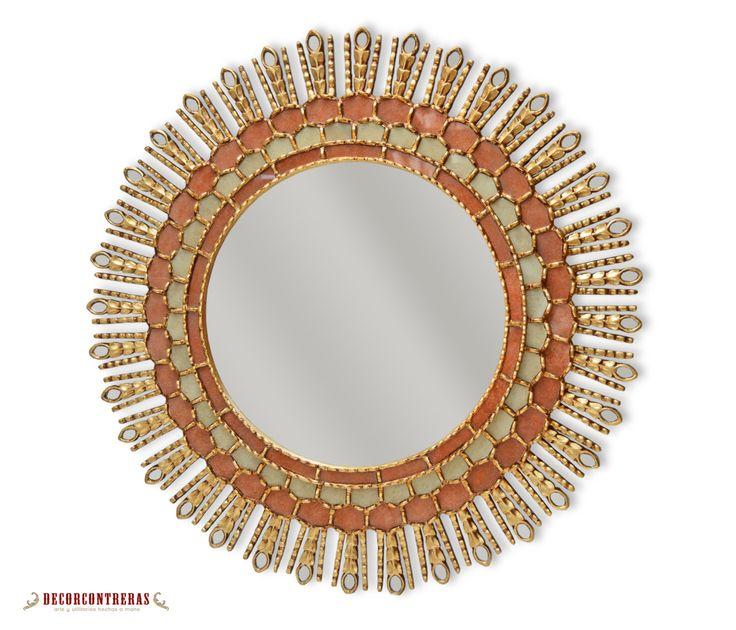 Espejo largo redondo tallado en madera puesta del sol for Espejo largo pared