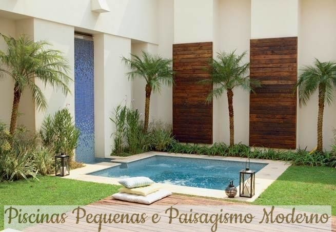 1- Quadrada com cascata na parede também com pastilhas! Decks de madeira no muro e no piso com palmeiras! Um tempo atrás fiz um po...