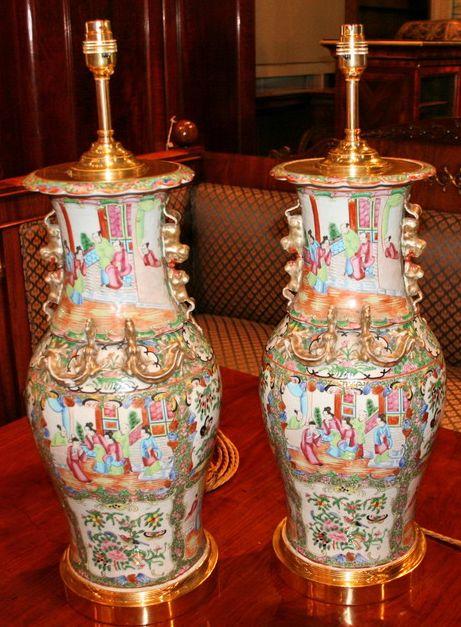 Par de vasos em porcelana Chinesa de Cantao do sec.19th, circa 1860, adaptados a candeeiros, 63cm de altura X 21cm X 21cm, 15,970 reais / 5,230 euros / 6,995 usd https://www.facebook.com/SoulCariocaAntiques?ref=hl