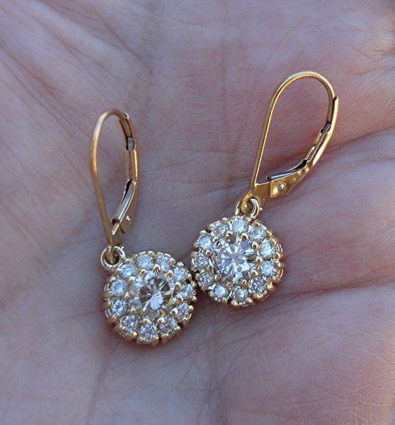 1 Carat Round Flower Diamond Halo Leverback Earrings - 14K Yellow Gold