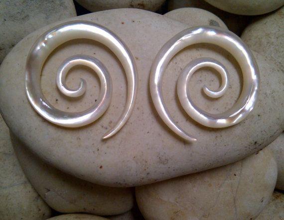 White Mother of Pearl Shell Circle Koru Earring 8gauge by Balidoit, $13.50