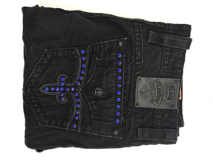 Rock Revival Jack Stud Straight Jeans Black Mens Sz 36 51A  | eBay