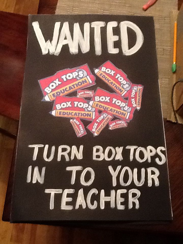 Great wanted poster for Box Tops for education. Place around school all year or bring out for contest times.